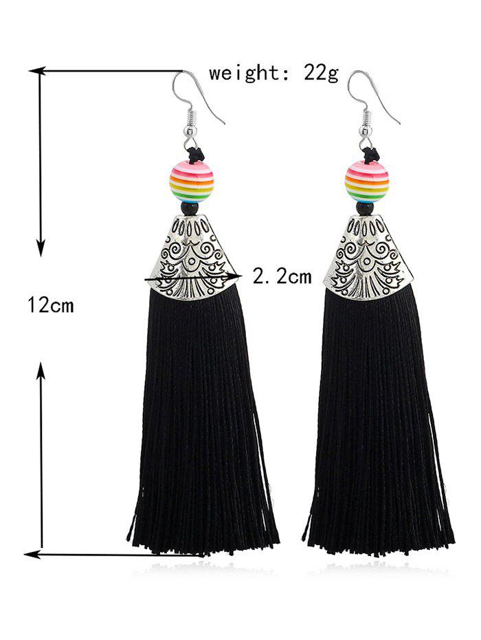 Bohemia Beaded Tassel Design Hook Earrings - BLACK