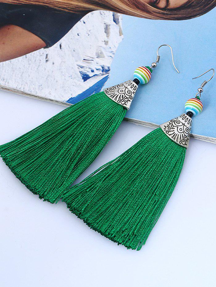 Bohemia Beaded Tassel Design Hook Earrings - GREEN