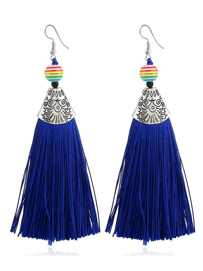 Bohemia Beaded Tassel Design Hook Earrings - Bleu