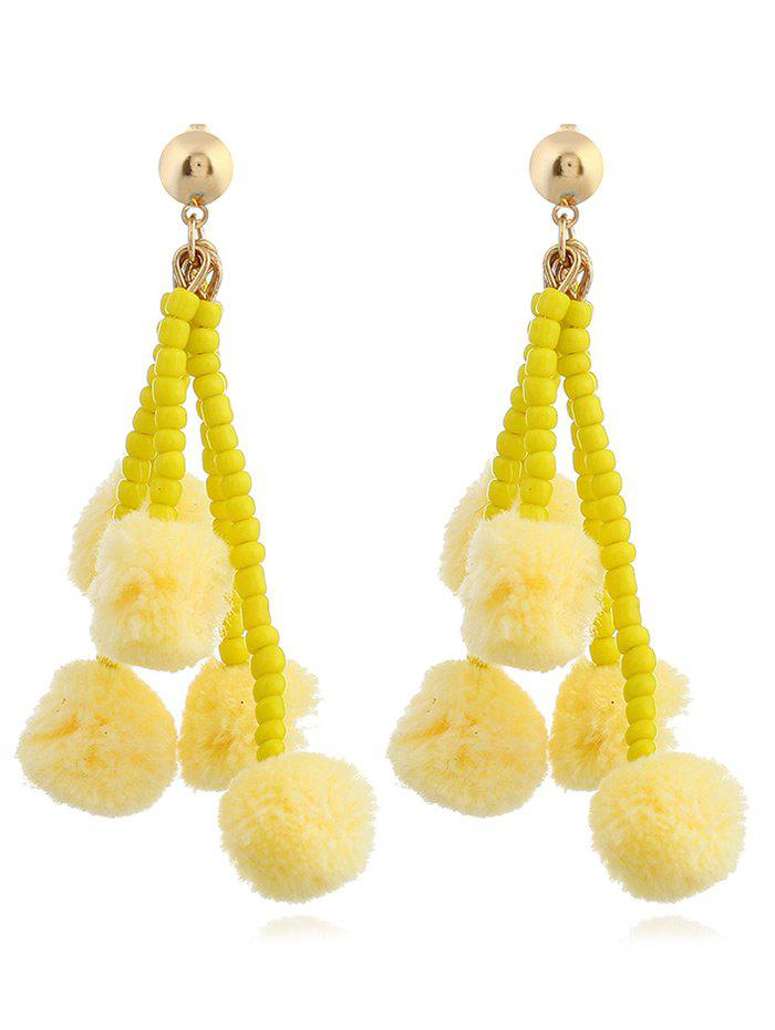 Beaded Chain Colorful Fuzzy Ball Drop Earrings - YELLOW