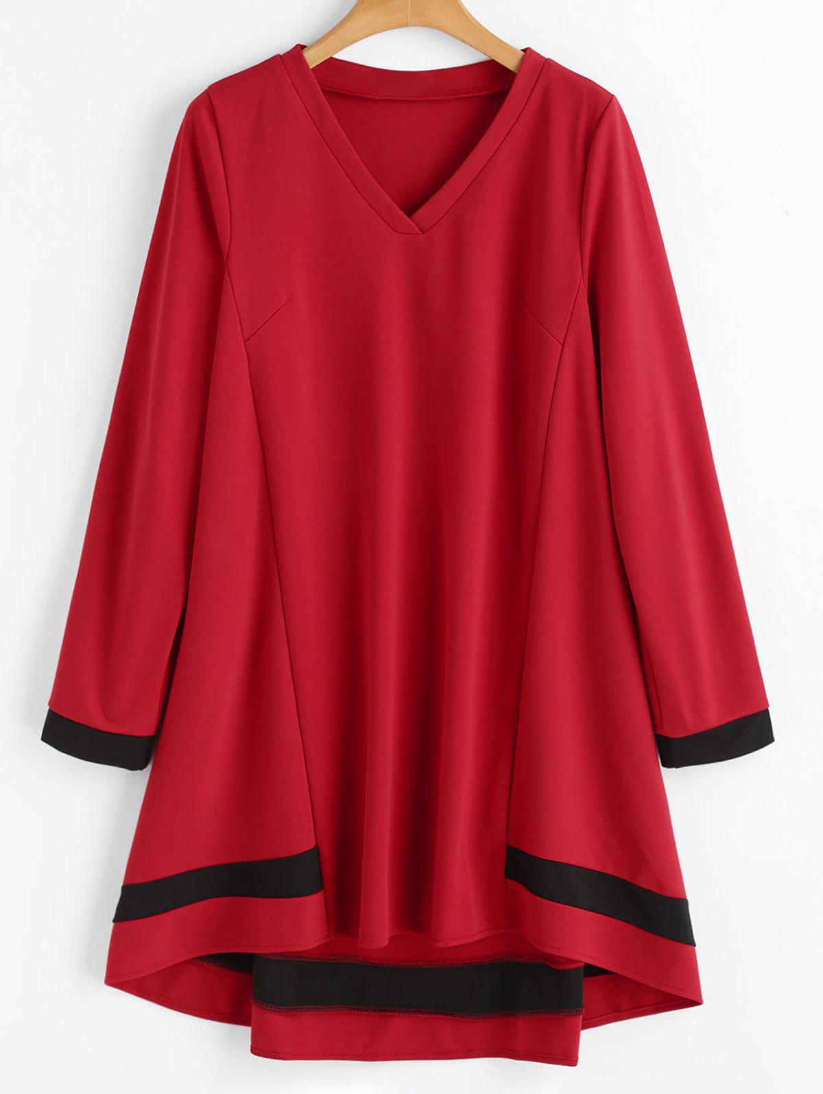Plus Size Long Sleeve Swing Dress - RED 4XL