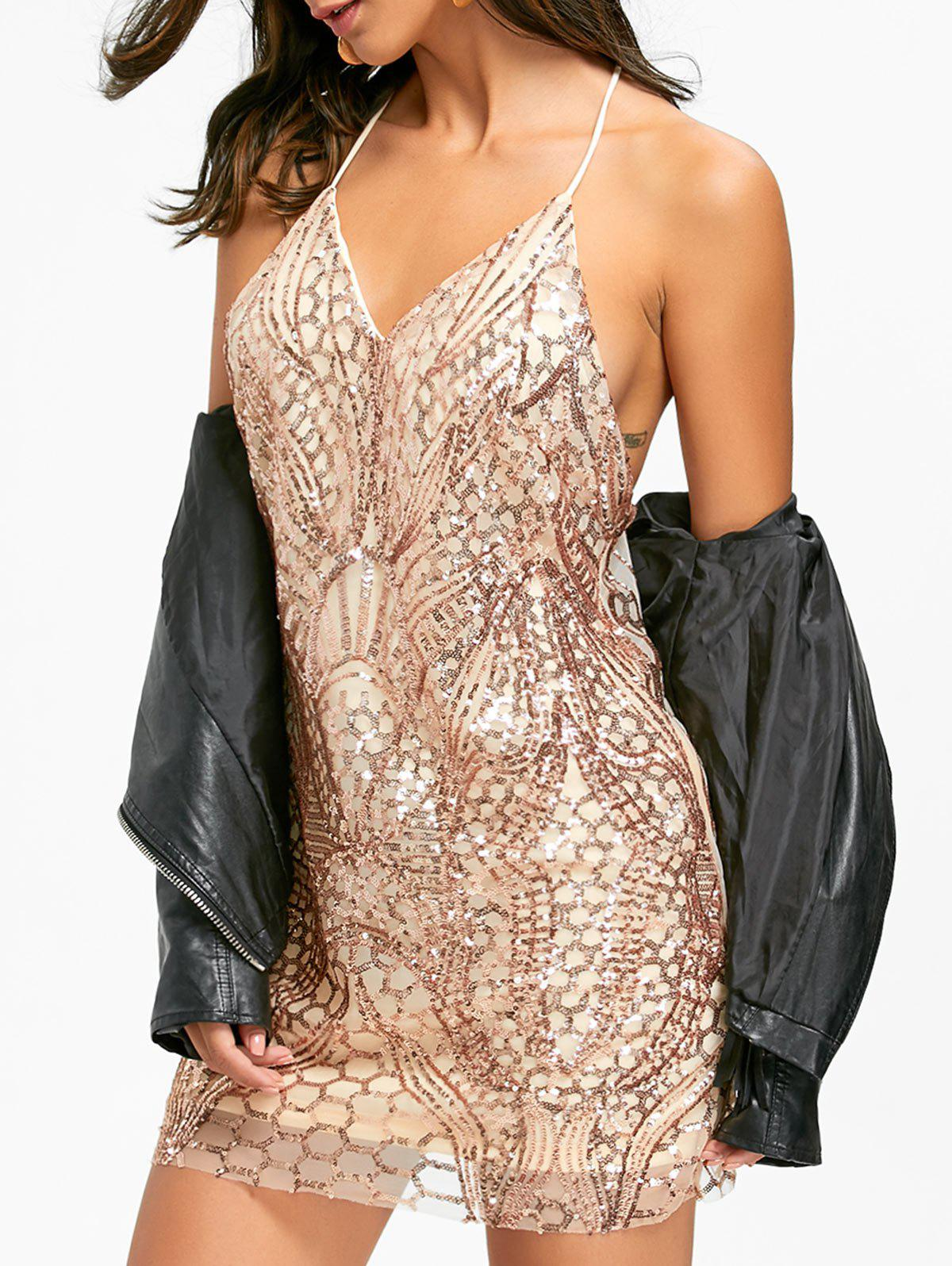 Night Out Sequins Backless Slip Dress - Or XL