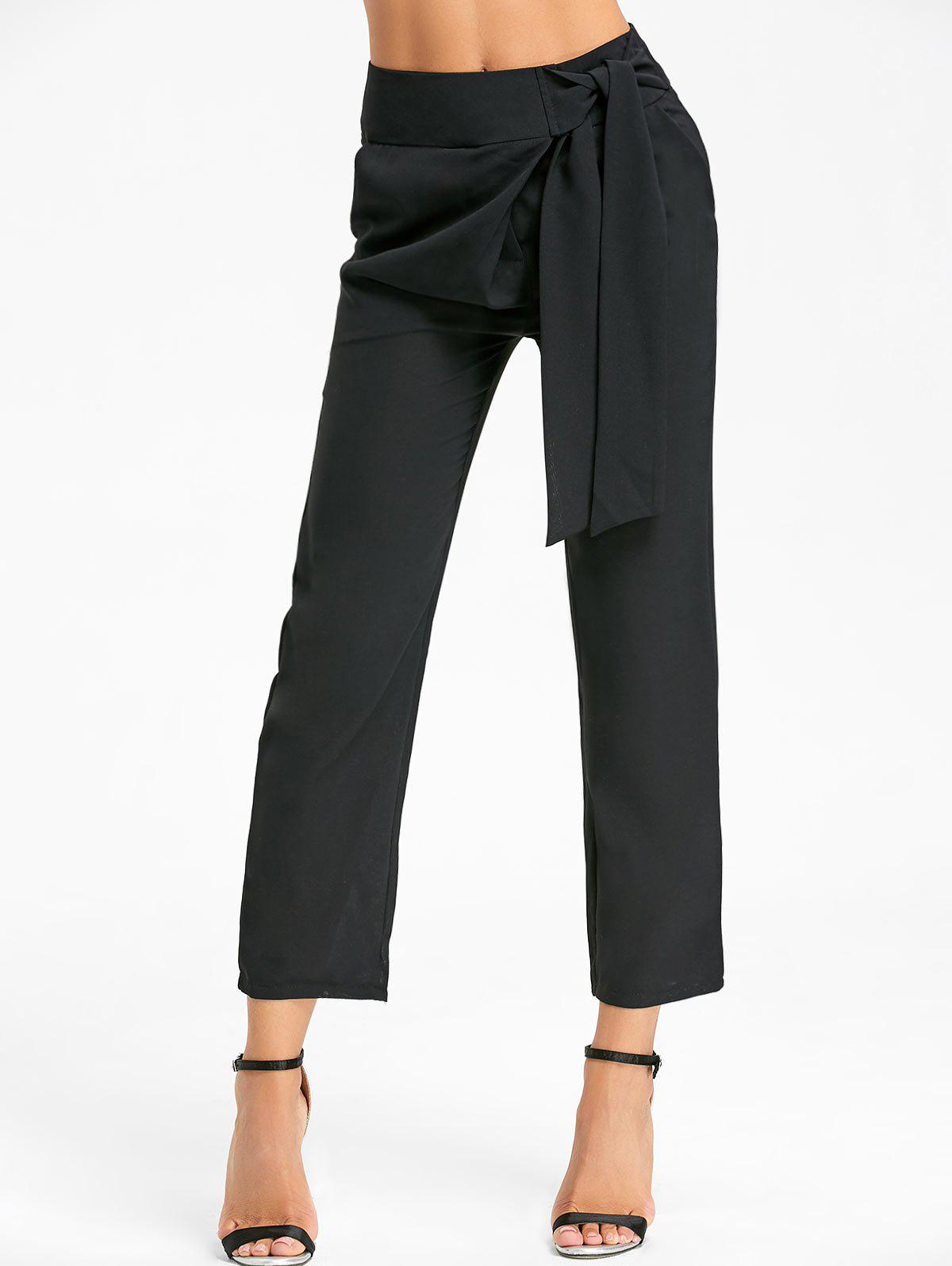 High Wasted Tie Up Pants - Noir L