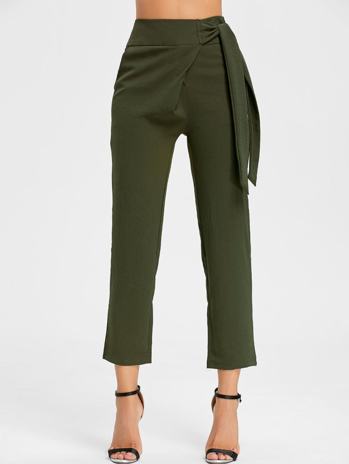 High Wasited Tie Up Pants - ARMY GREEN M