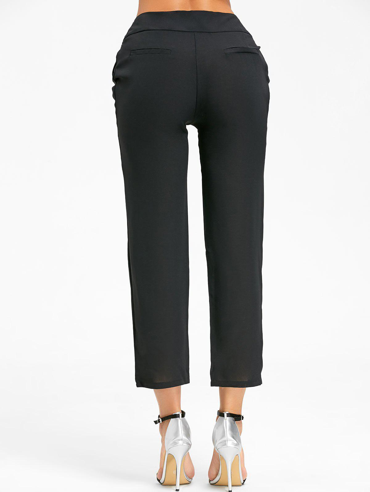 High Wasted Tie Up Pants - Noir S