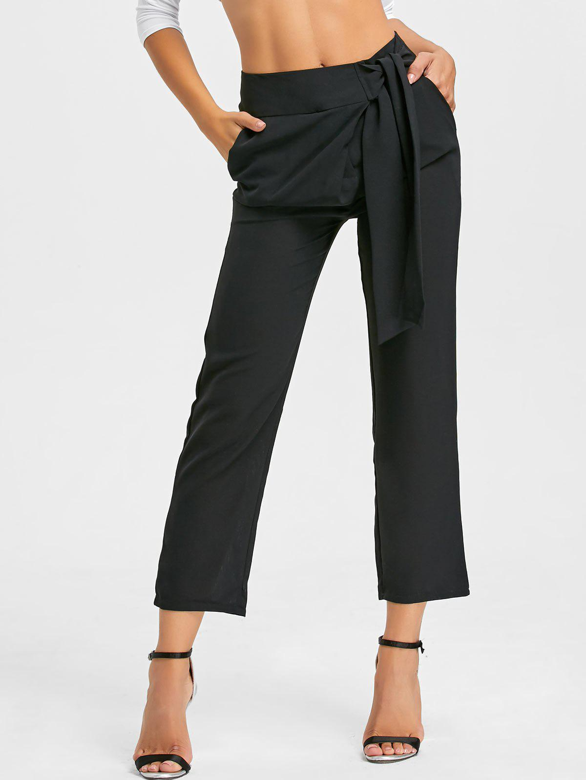 High Wasited Tie Up Pants - BLACK S