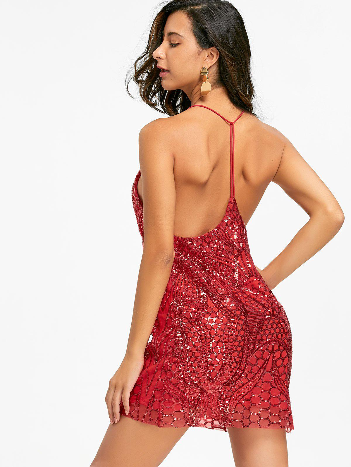 Night Out Sequins Backless Slip Dress - BRIGHT RED XL