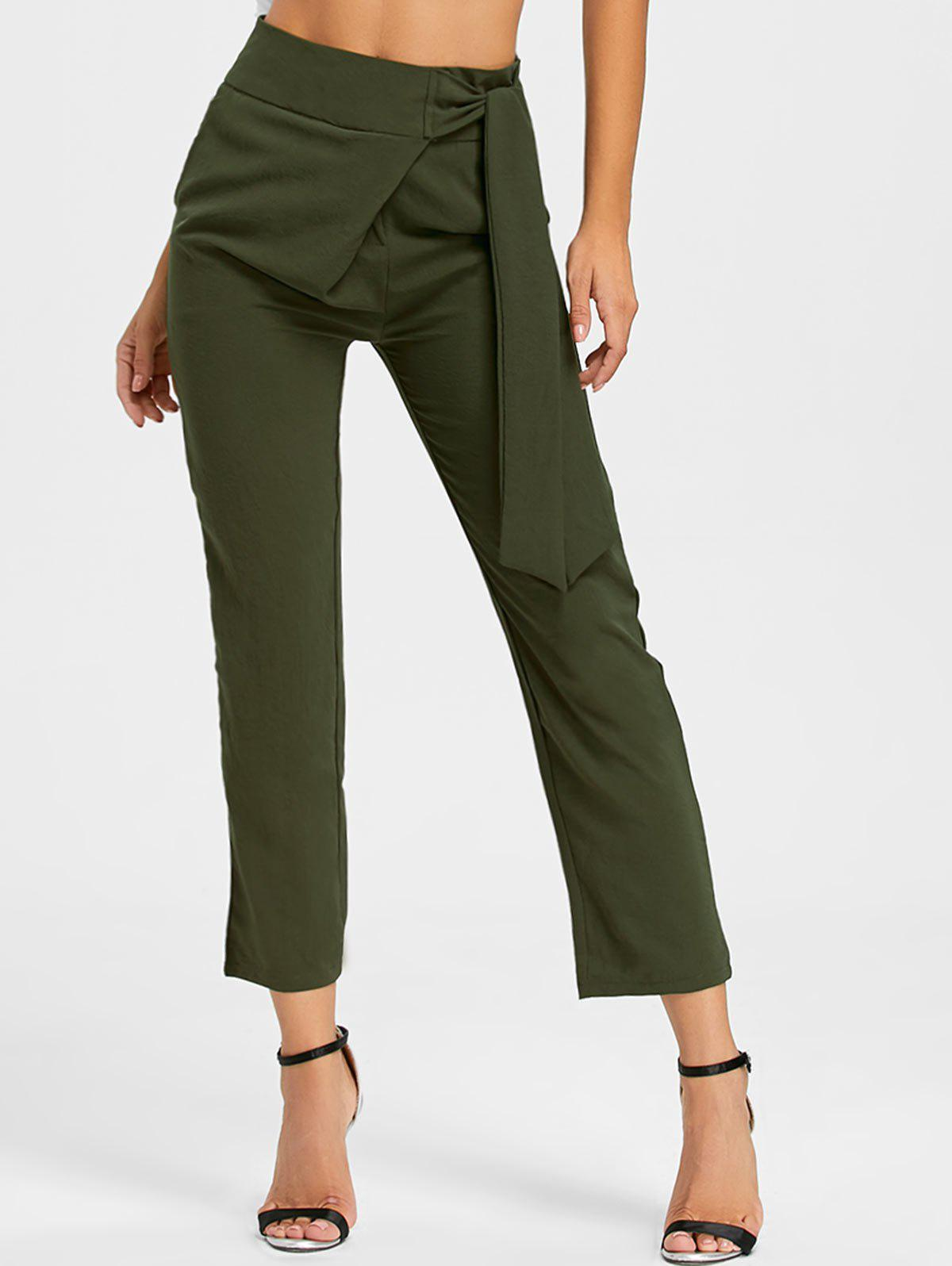 High Wasted Tie Up Pants - Vert Armée XL