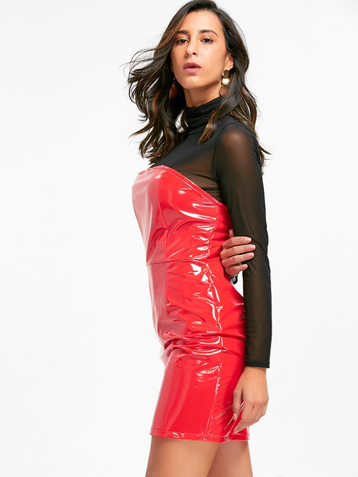Bandeau Latex Mini Dress - RED L