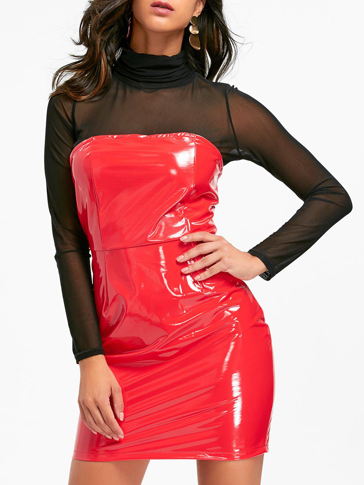 Bandeau Latex Mini Dress - Rouge S