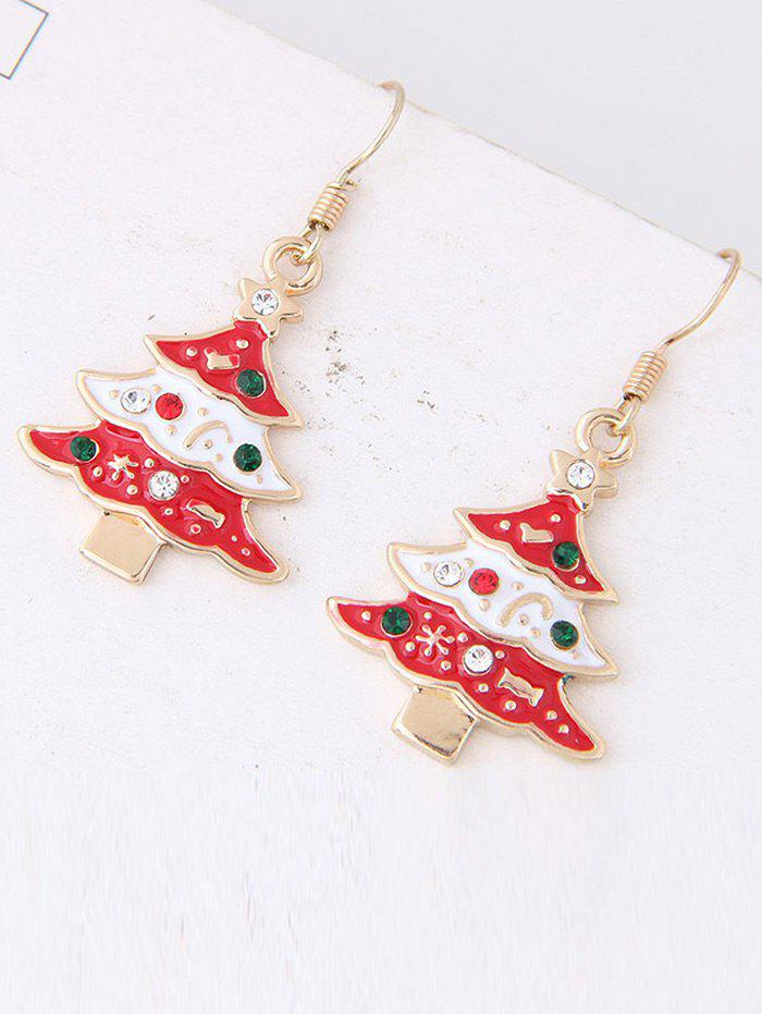 Rhinestone Star Chrismas Tree Hook Earrings - RED