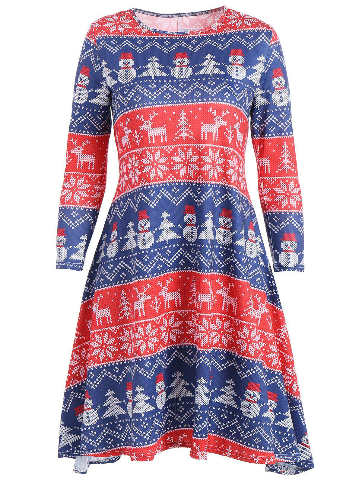 Snowman Snowflake Print Christmas Mini Swing Dress - Rouge ONE SIZE
