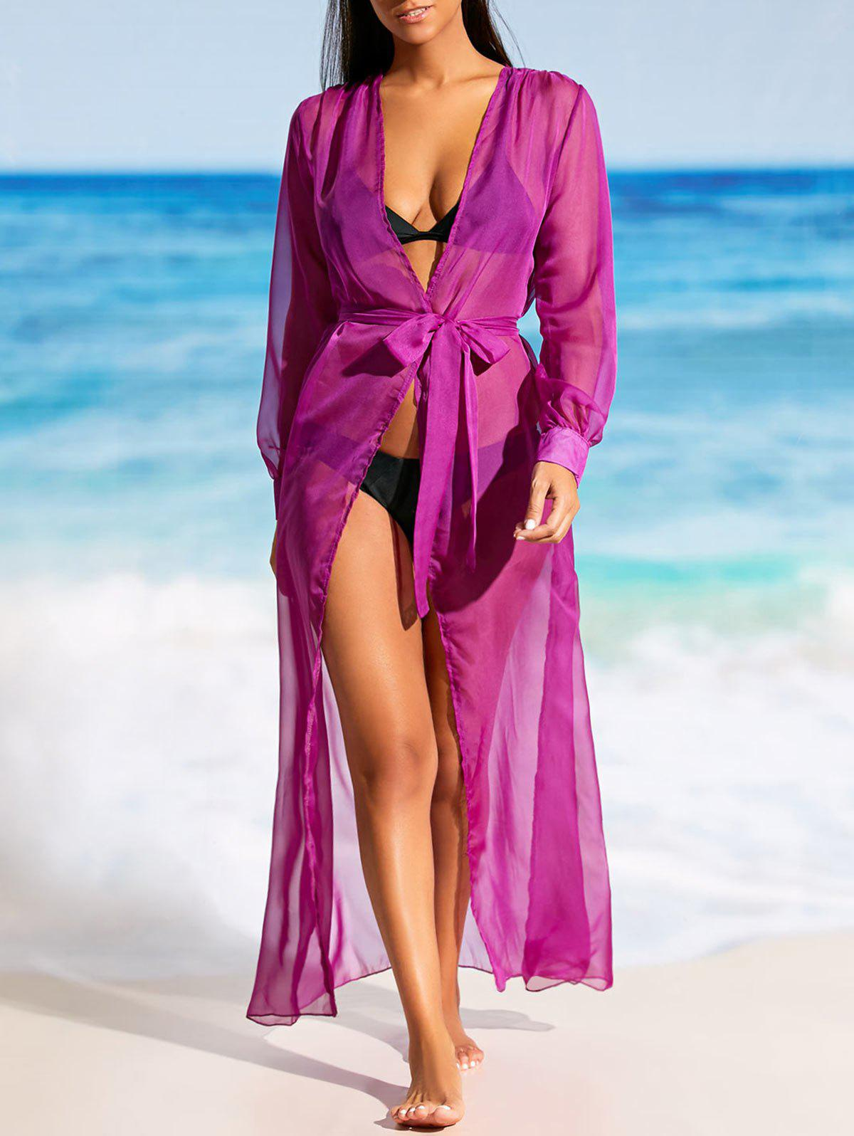 Flowy Maxi Cover Up Wrap Dress - PURPLE M