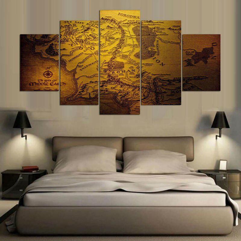 Navigation Map Print Wall Art Split Canvas Paintings burning guitar pattern unframed wall art canvas paintings