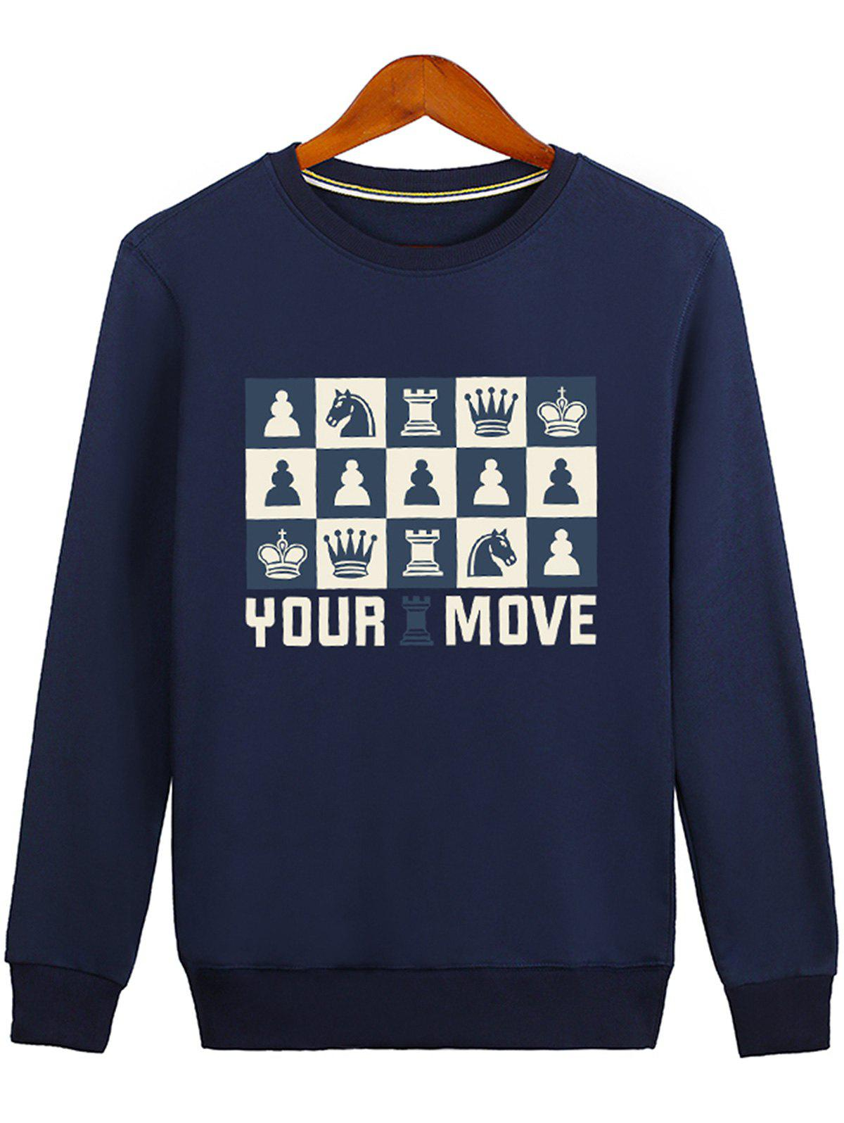 Crown Horse Printed Graphic Sweatshirt - BLUE M
