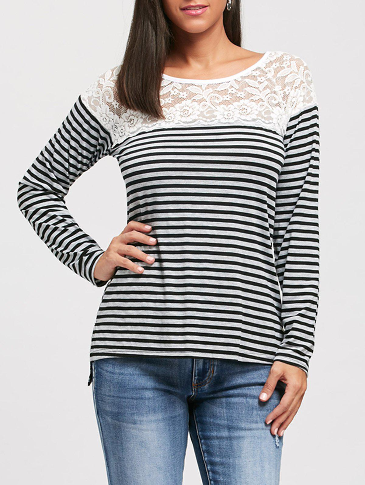 Lace Panel Long Raglan Sleeve Striped T-shirt stripe panel raglan sleeve t shirt