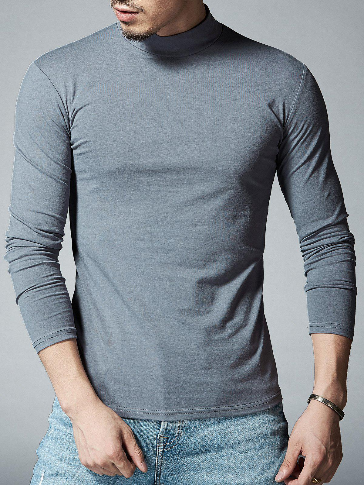 Stretch Mock Neck Long Sleeve T-shirt - DEEP GRAY L