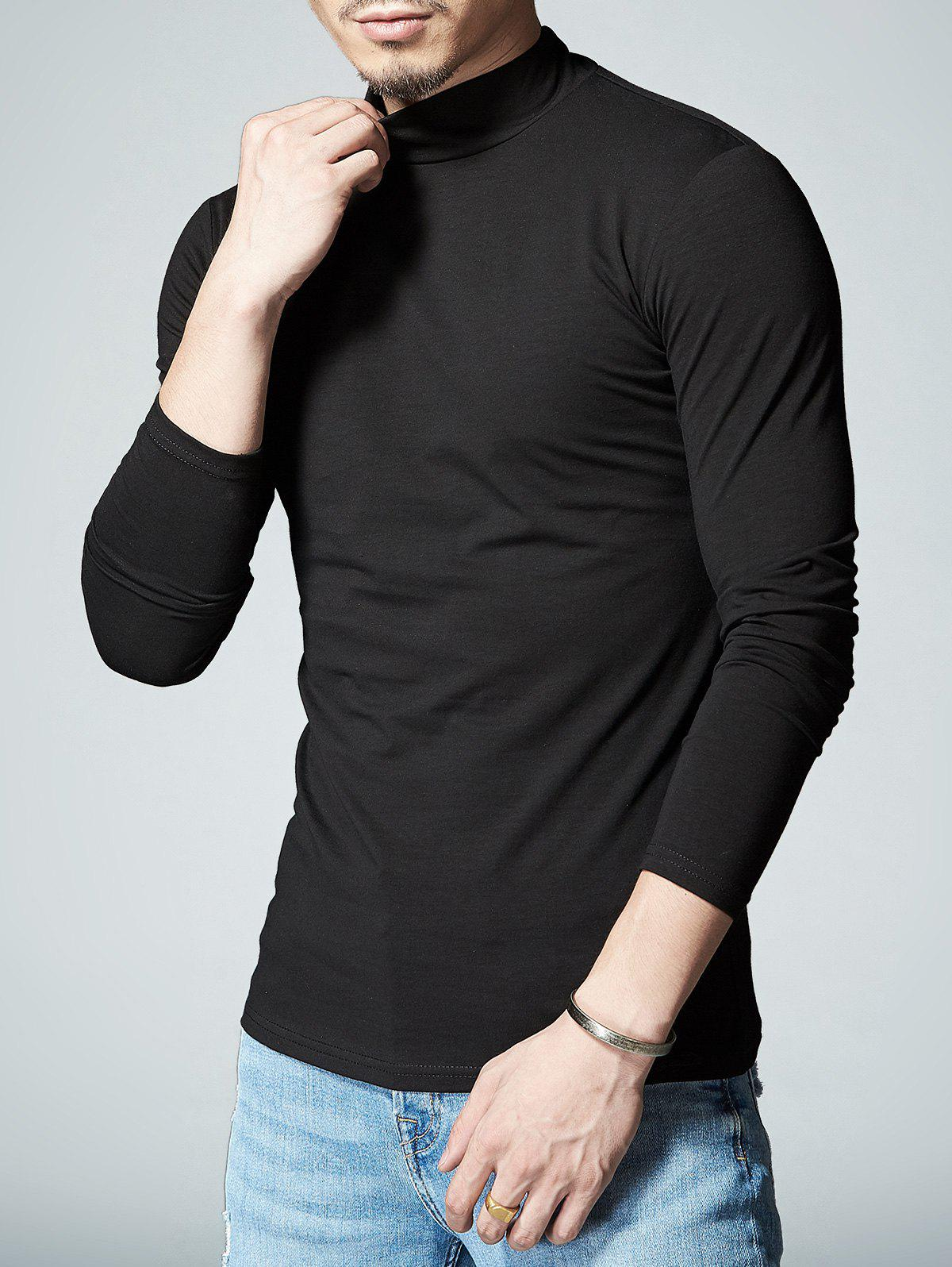 Stretch Mock Neck Long Sleeve T-shirt - BLACK L