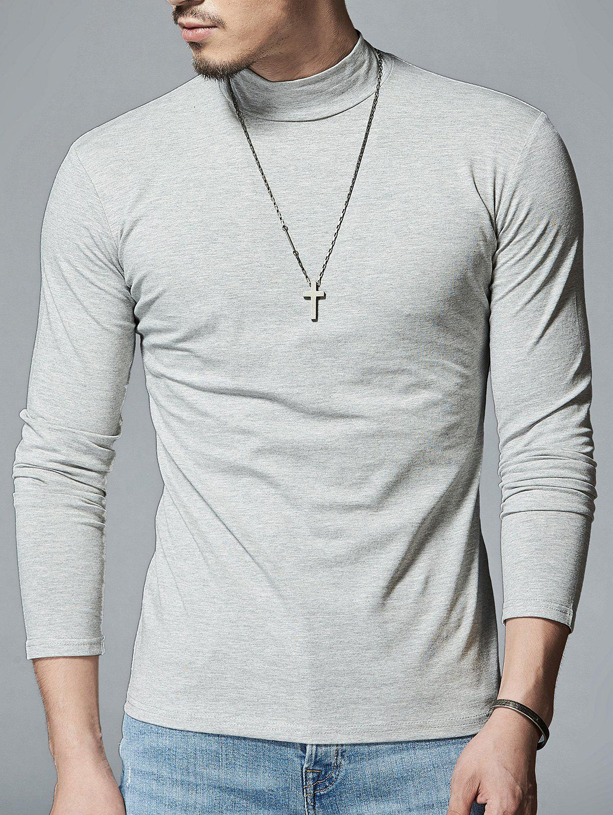 Stretch Mock Neck Long Sleeve T-shirt - LIGHT GRAY L