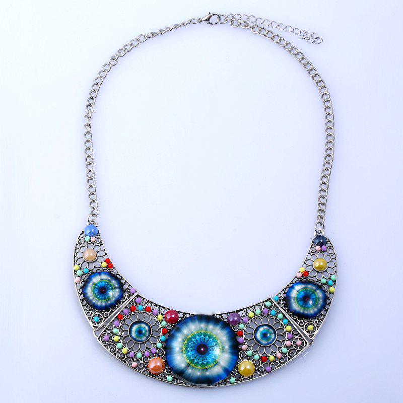 Cat Eye Hollow Flower Beaded Necklace - SILVER
