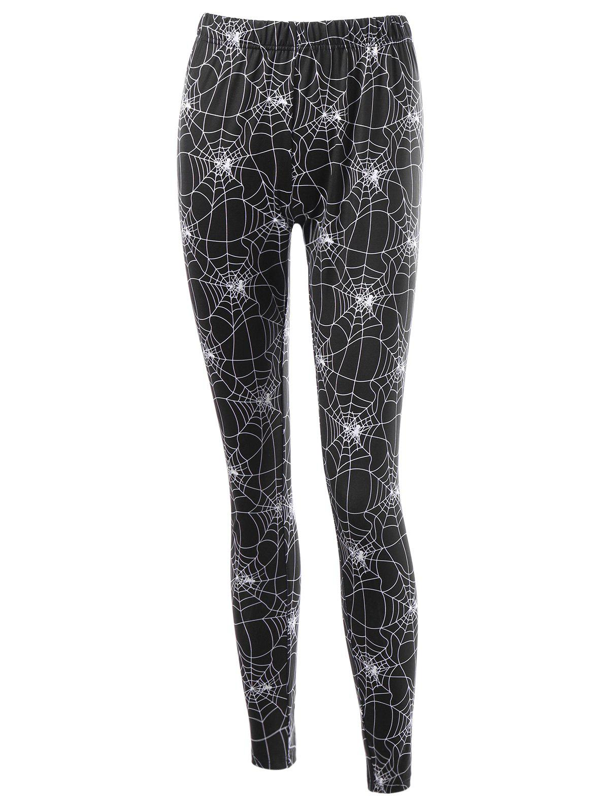 Halloween Fitted Leggings with Spider Web Print - BLACK 2XL
