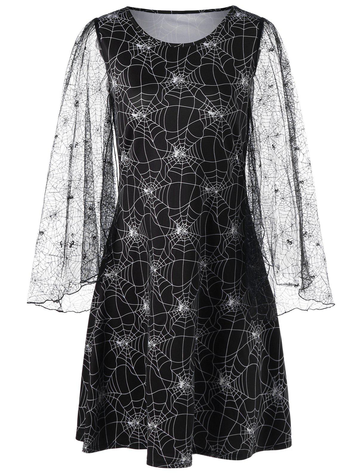 Halloween Lace Sleeve Spider Web Print Dress -