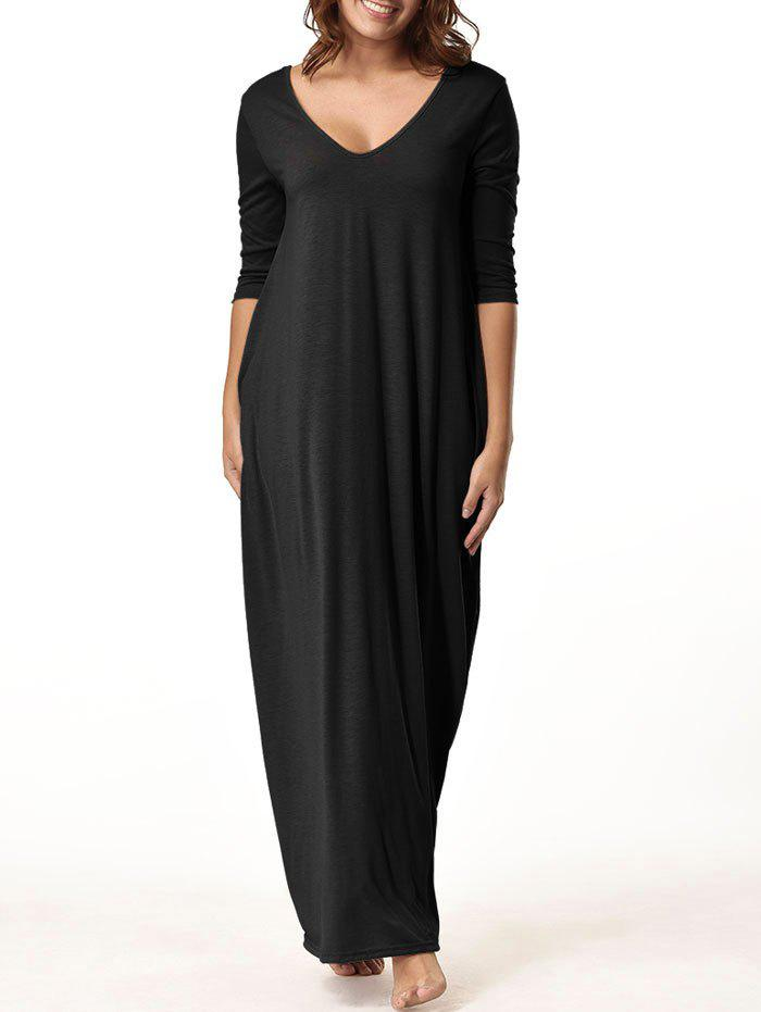 V Neck Floor Length Baggy Dress - BLACK S