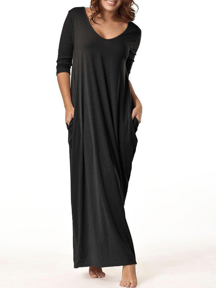 V Neck Floor Length Baggy Dress - BLACK 2XL