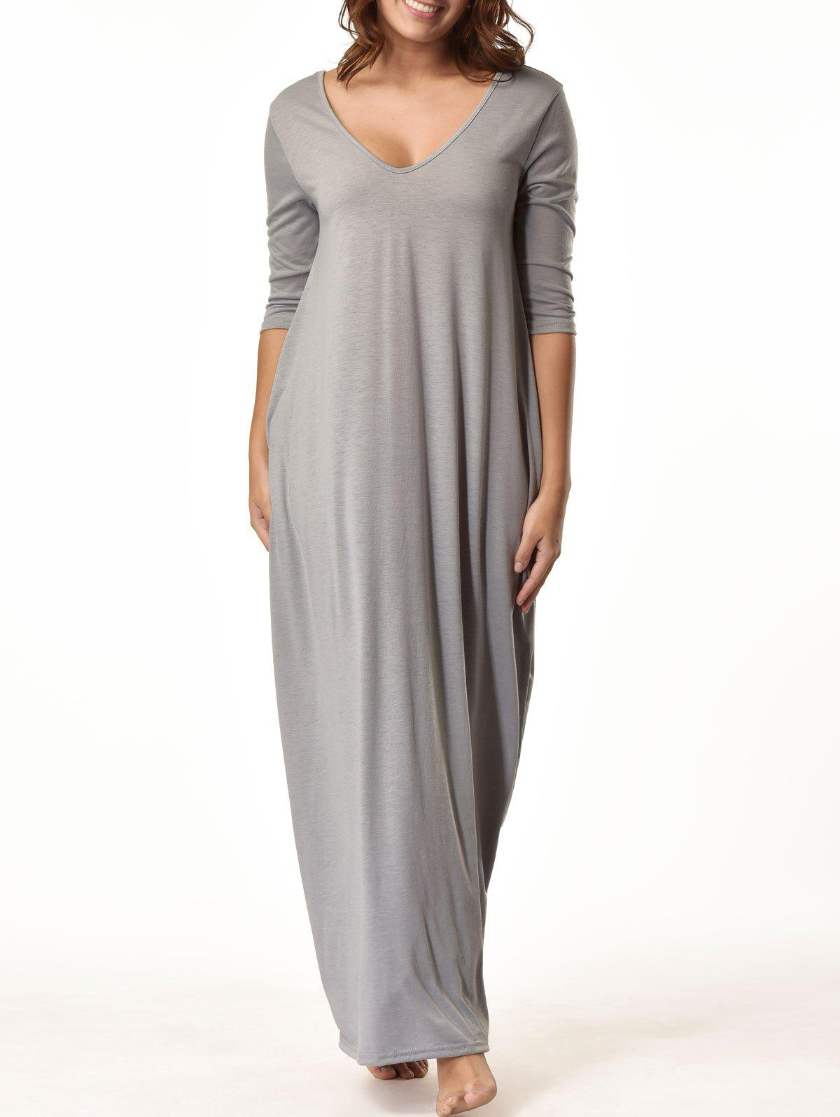 V Neck Floor Length Baggy Dress - GRAY S