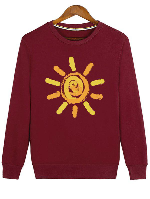 Crew Neck Sun Print Sweatshirt - RED 2XL