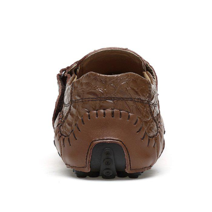 Crocodie Embossed Stitched Casual Shoes - BROWN 42
