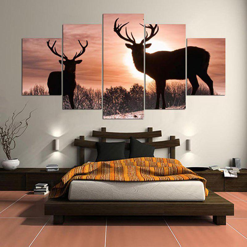 Sunset Elks Patterned Wall Art Split Canvas Paintings sunset seascape patterned canvas wall art paintings