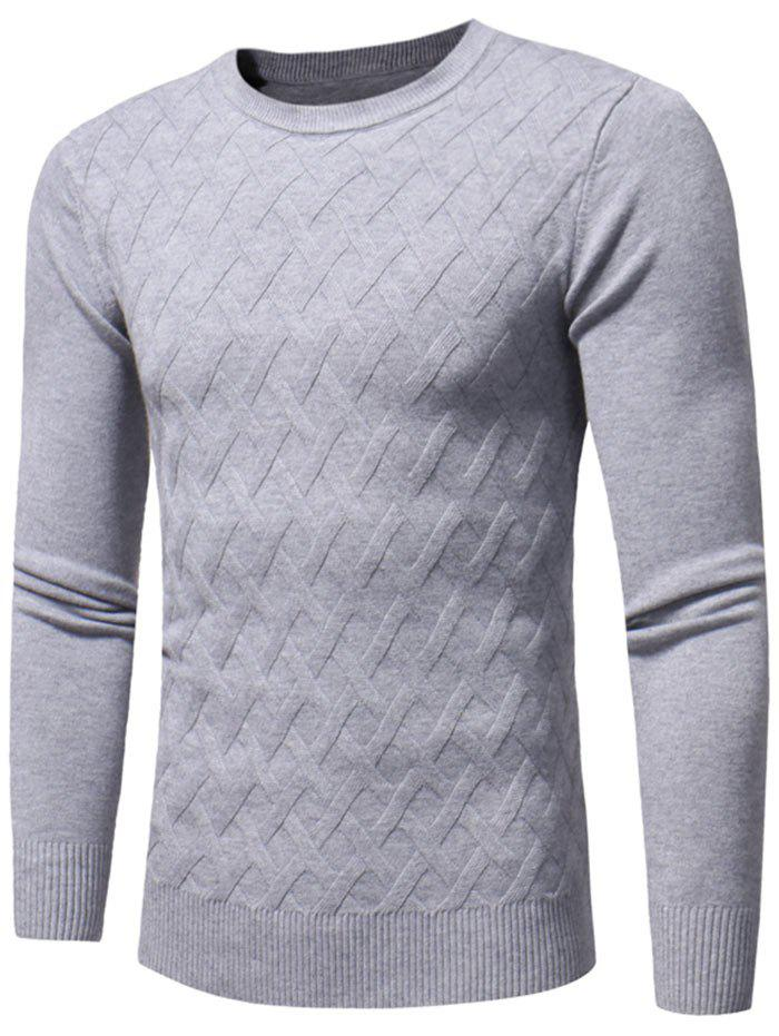 Net Pattern Crew Neck Pullover Sweater - Gris 2XL