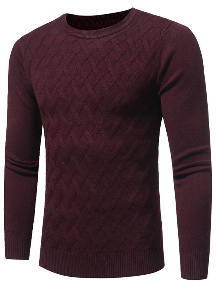 Net Pattern Crew Neck Pullover Sweater - Rouge vineux L