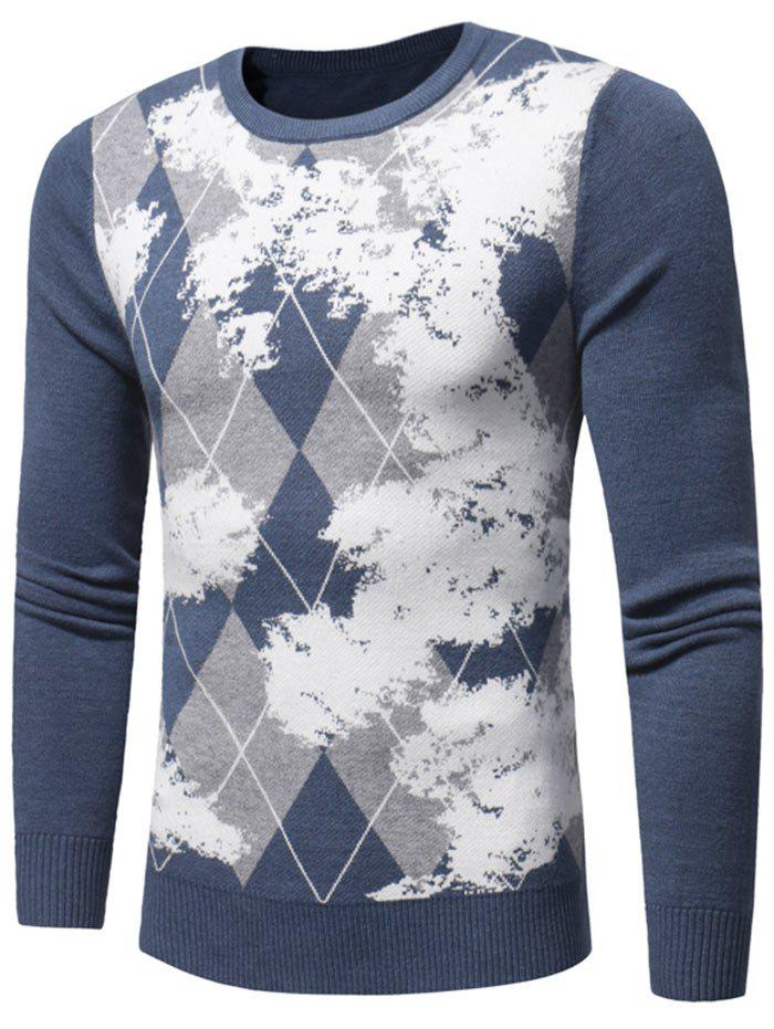 Tie Dye Crew Neck Argyle Sweater - Bleu 3XL