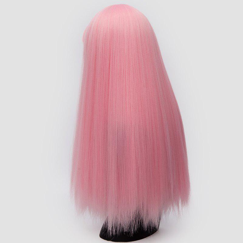 Perruque synthétique Lolita Cosplay Long Neat Bang Fluffy Straight - ROSE PÂLE