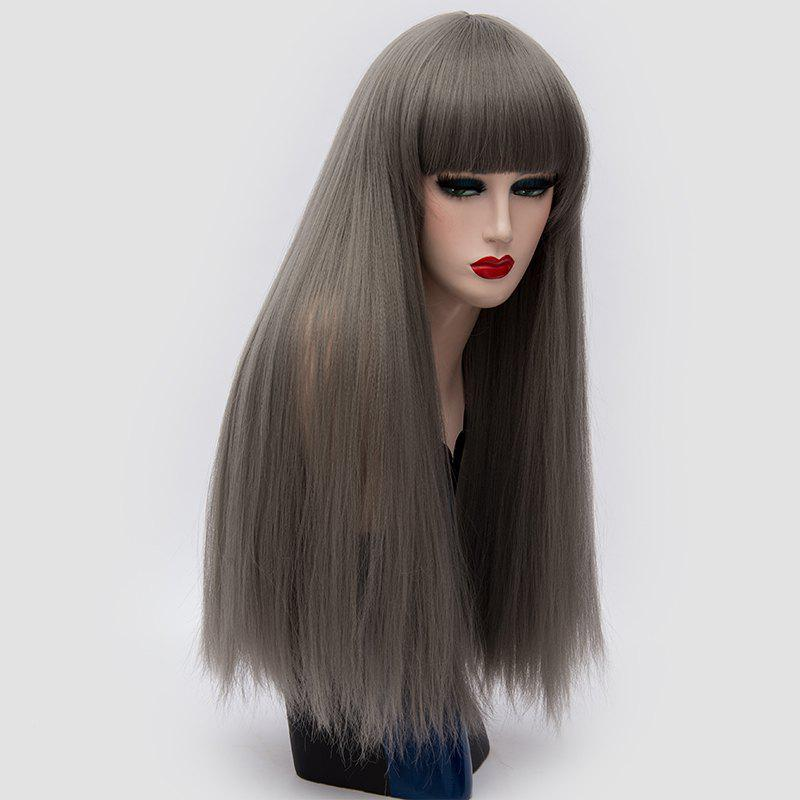 Long Neat Bang Fluffy Straight Lolita Cosplay Synthetic Wig - DARK GRAY