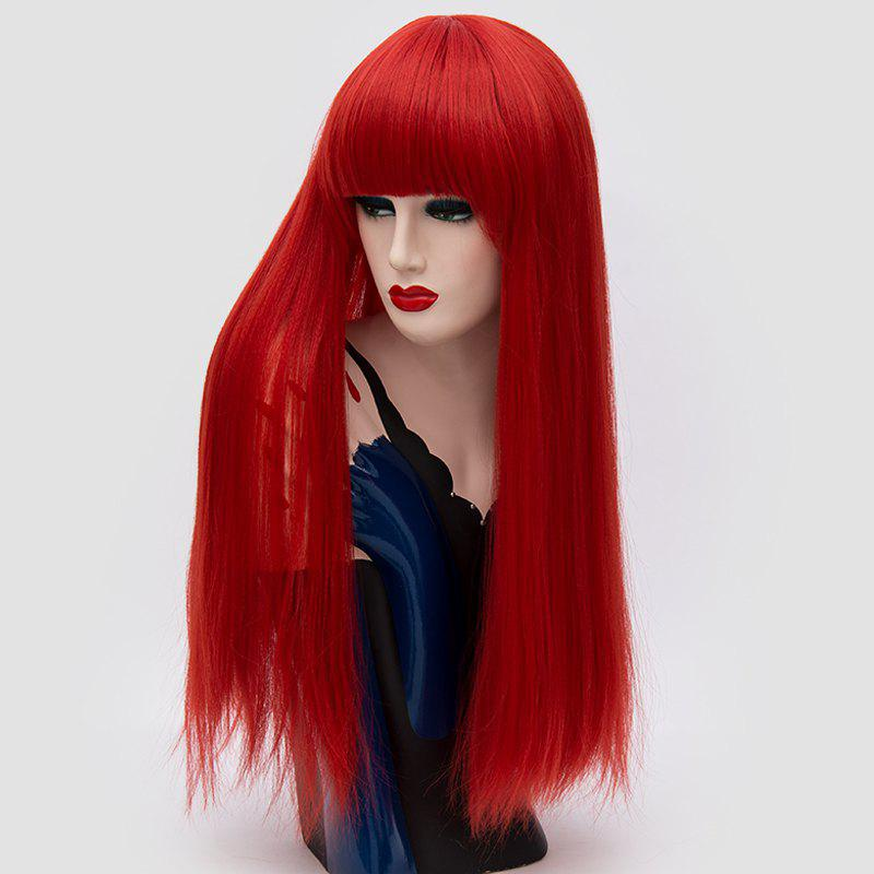 Perruque synthétique Lolita Cosplay Long Neat Bang Fluffy Straight - Rouge