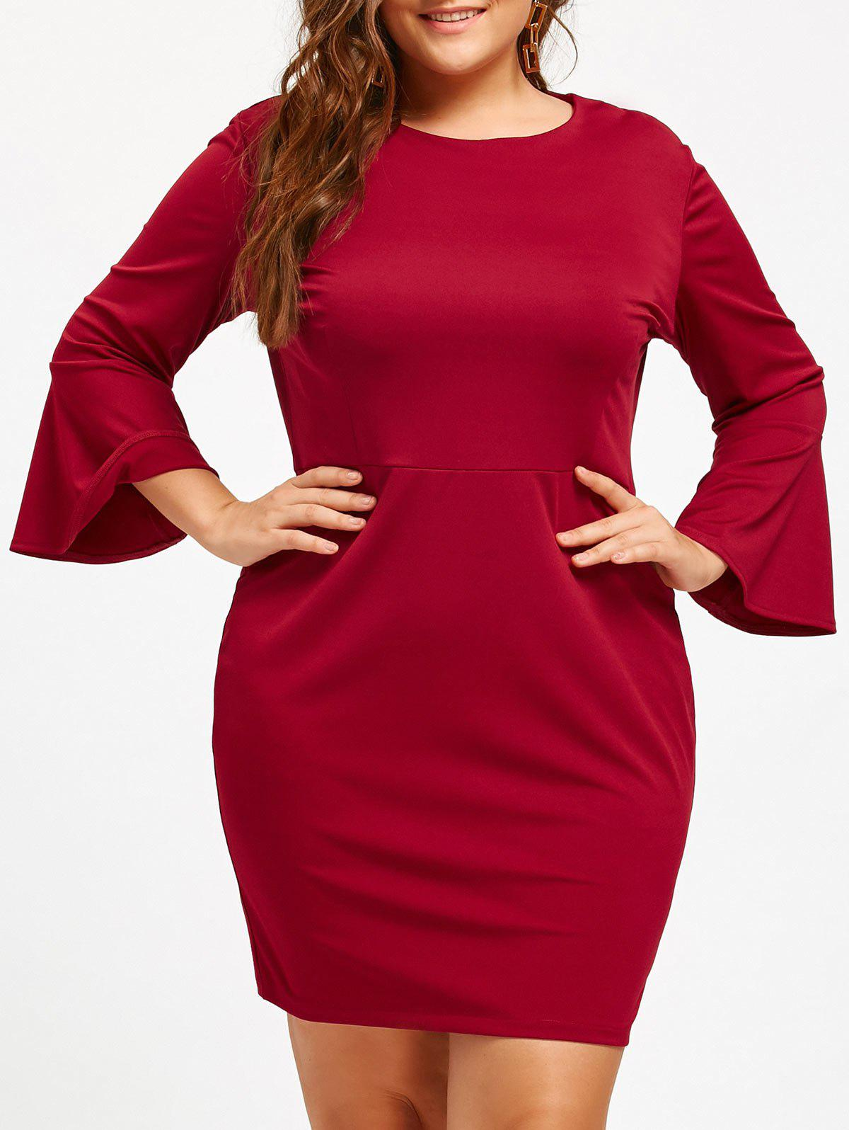 Plus Size Mini Long Sleeve Bodycon Dress