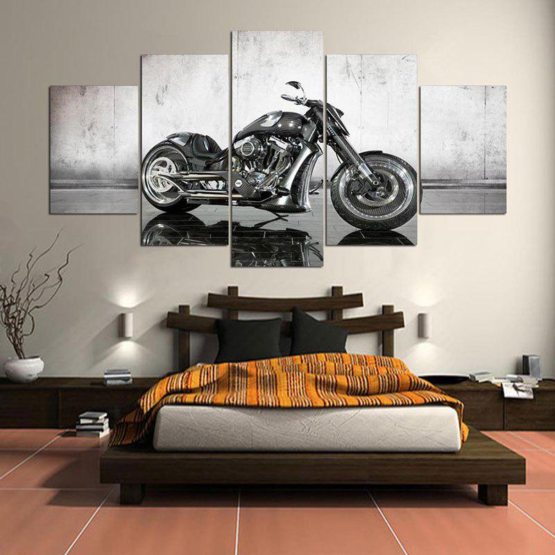 Wall Art Mechanical Motor Pattern Canvas  Paintings - GRAY 1PC:8*20,2PCS:8*12,2PCS:8*16 INCH( NO FRAME )
