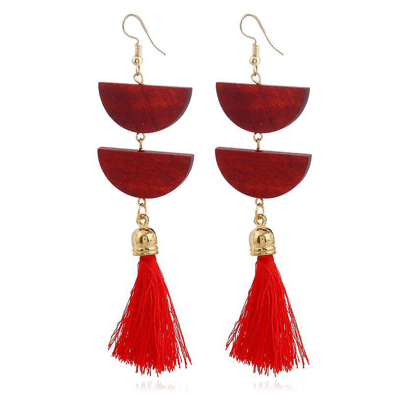 Tassel Geometric Oval Chain Hook Earrings - RED