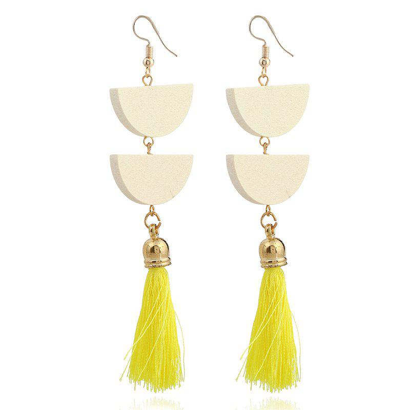 Tassel Geometric Oval Chain Hook Earrings - YELLOW