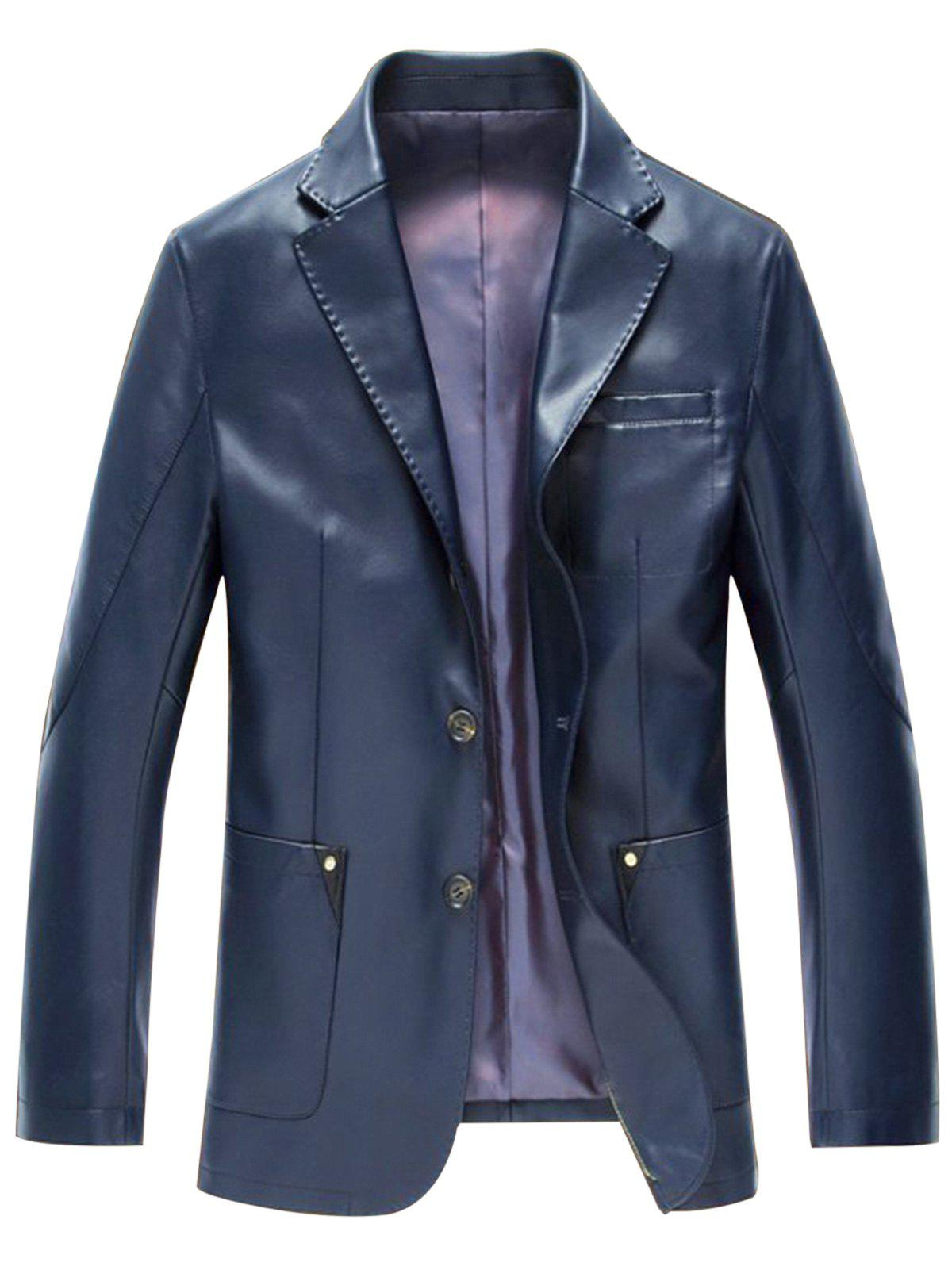 Pocket Single Breasted Faux Leather Blazer - DEEP BLUE 3XL