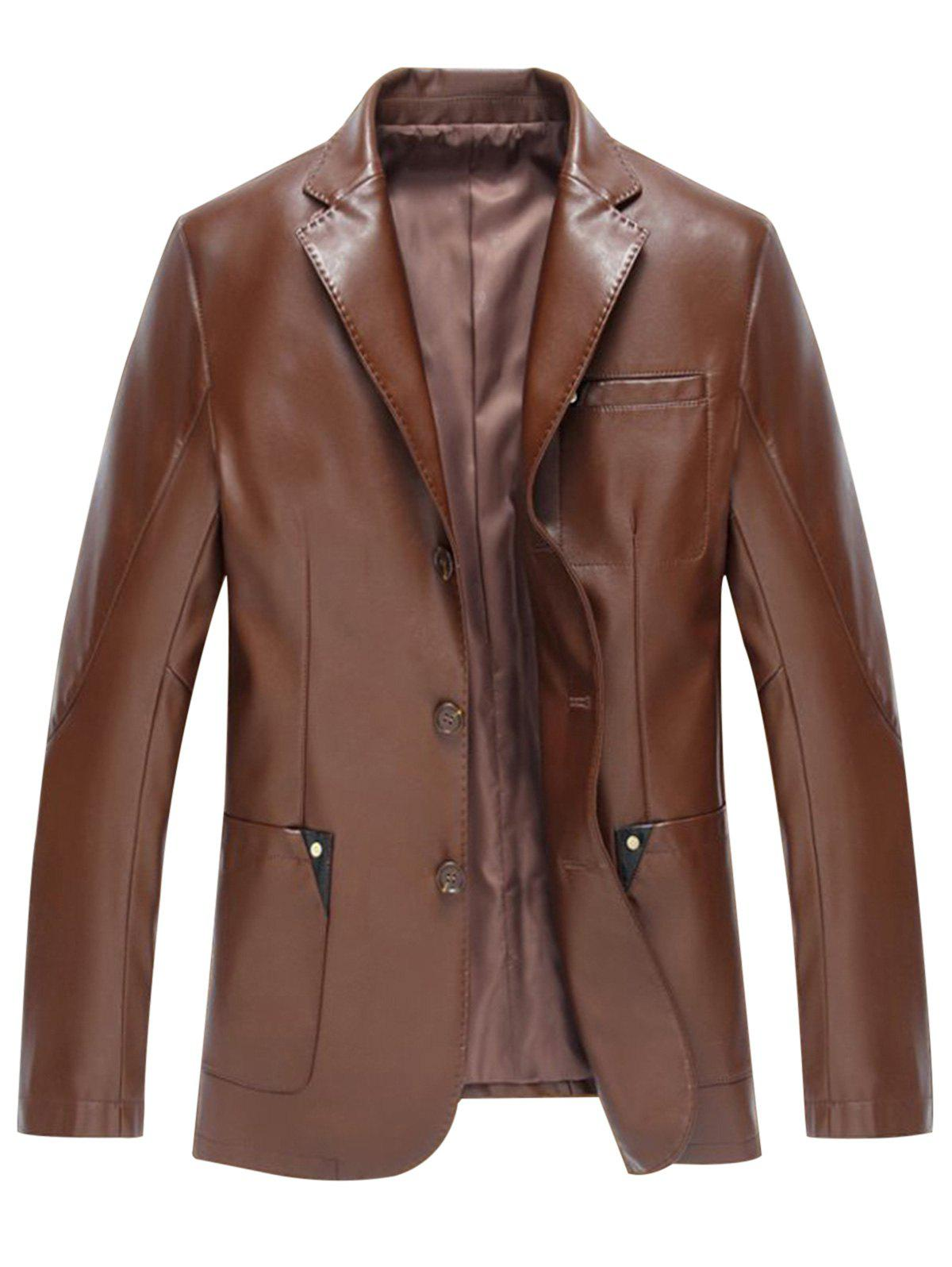 Pocket Single Breasted Faux Leather Blazer - BROWN L
