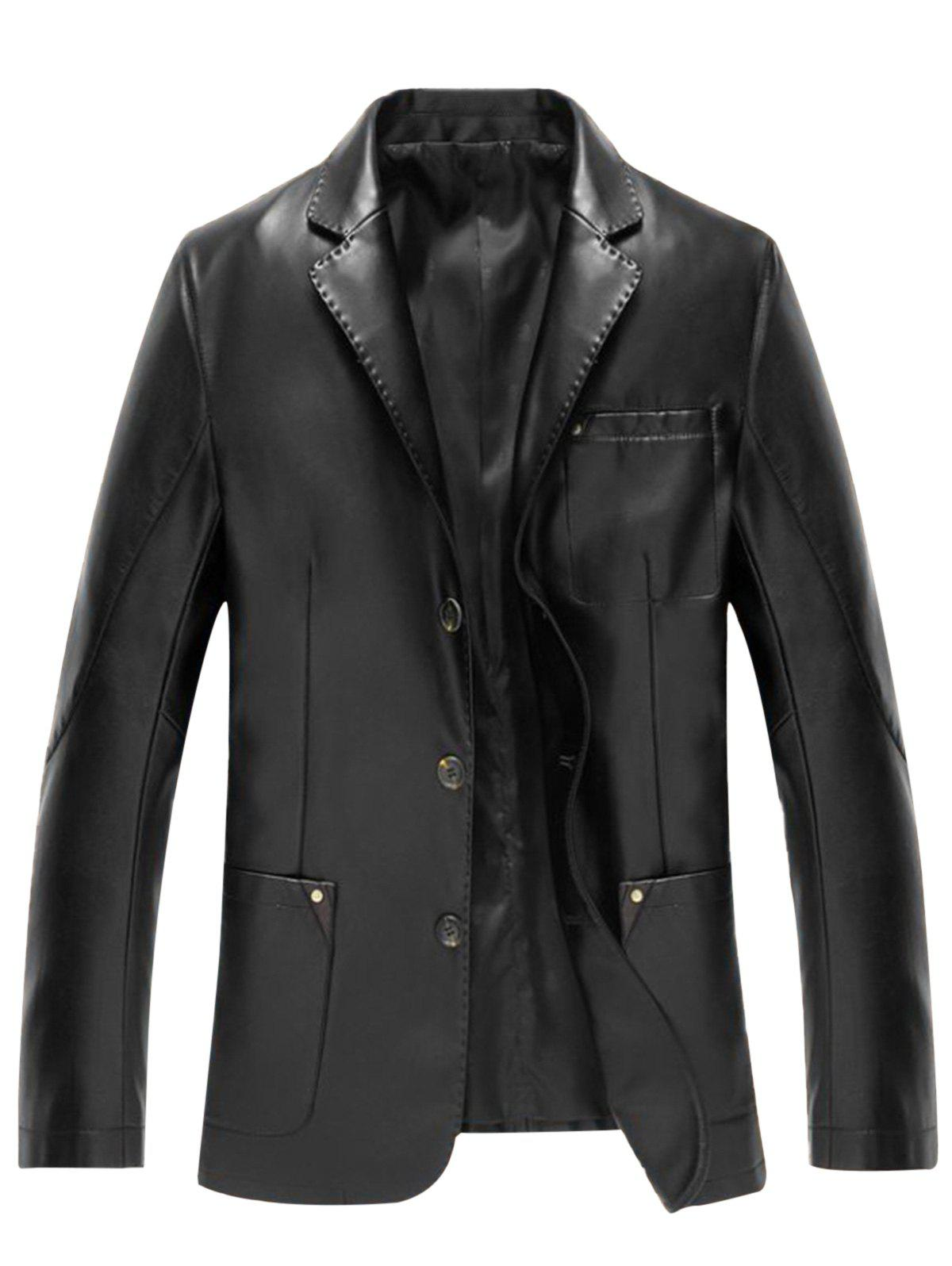 Pocket Single Breasted Faux Leather Blazer - BLACK L