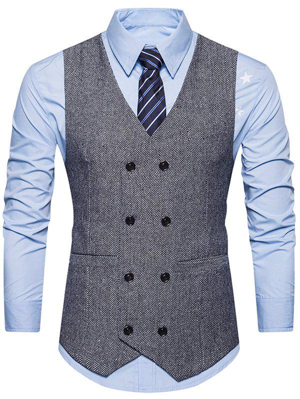 Belt Design Double Breasted Waistcoat - GRAY M