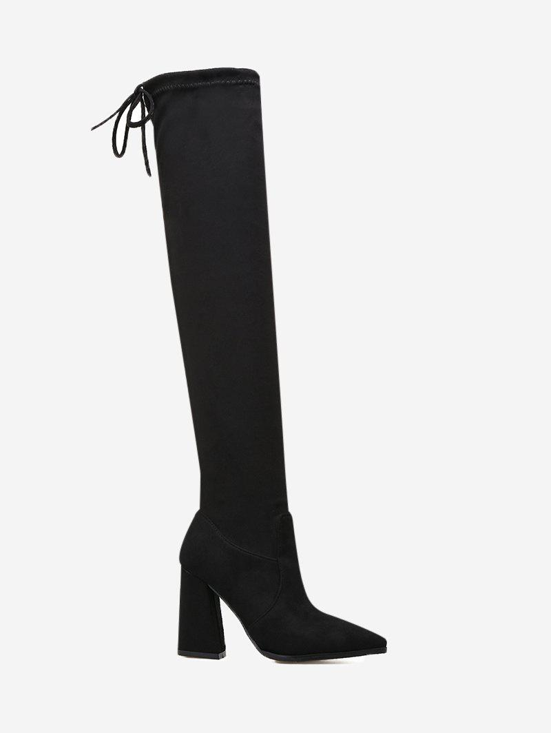 Tie Back Pointed Toe Thigh High Boots - BLACK 39