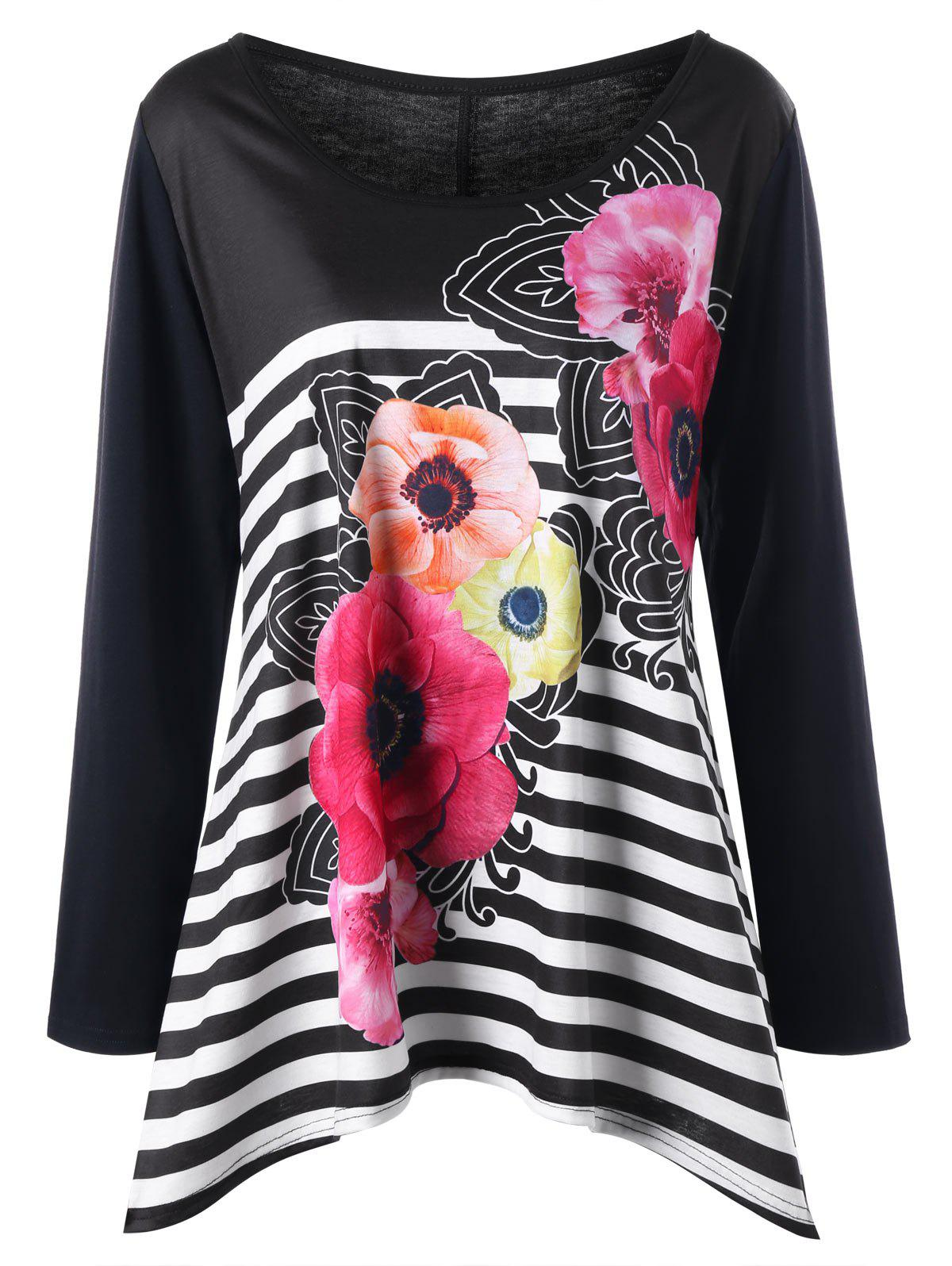 Plus Size Striped Floral Long Sleeve Tee - BLACK 5XL