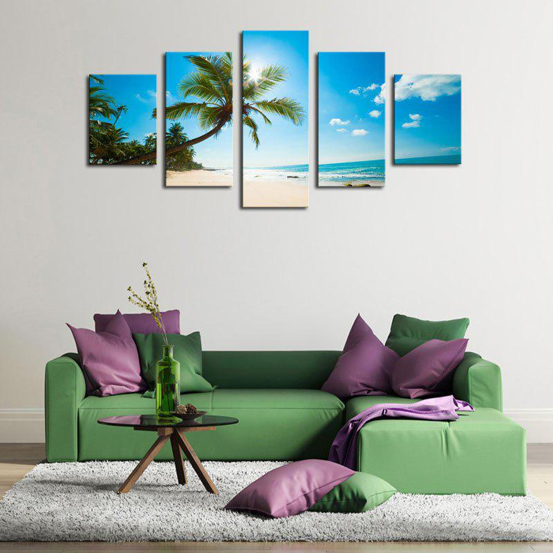 Coconut Tree Printed Unframed Canvas Paintings - BLUE 1PC:12*31,2PCS:12*16,2PCS:12*24 INCH( NO FRAME )