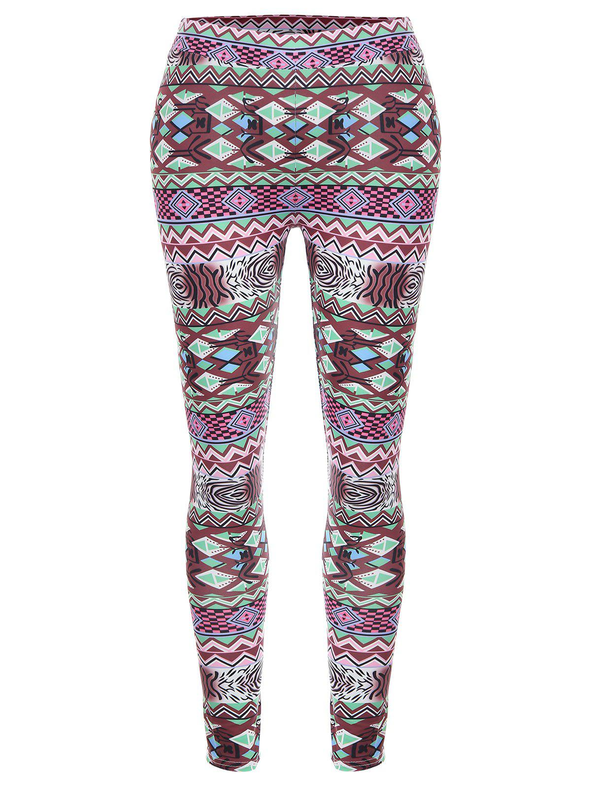 Geometric Print High Waisted Christmas Leggings - multicolor S